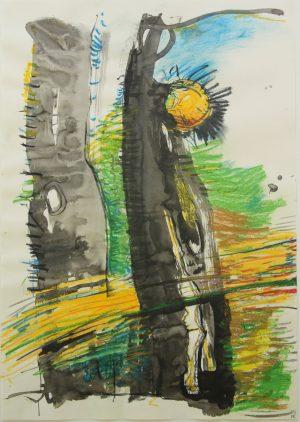 """O.T."", Kreide, Tusche, Kohle auf Papier, 2013, 60x40cm"