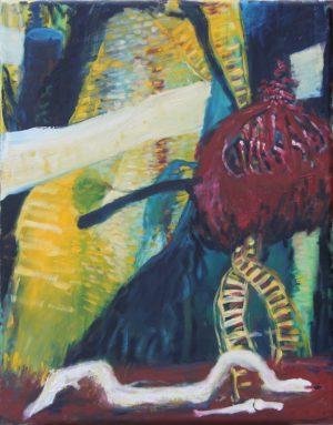 Vogel und Schlange, Öl auf Leinwand, 60x90cm, 2013